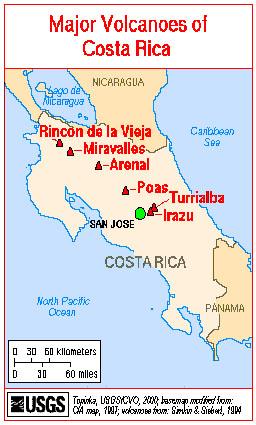 Map Costa Rica Volcanoes